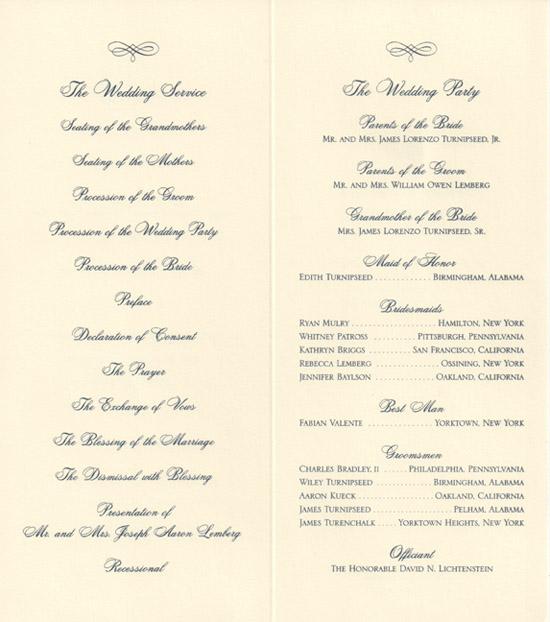 wedding program layout