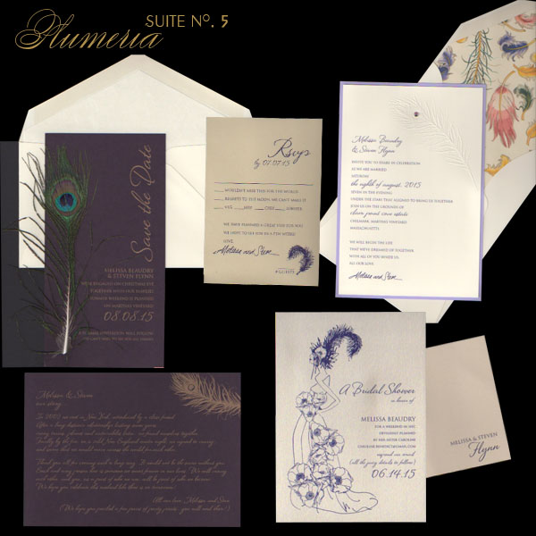 wedding invitations Shown in this Suite Save the Date on aubergine paper