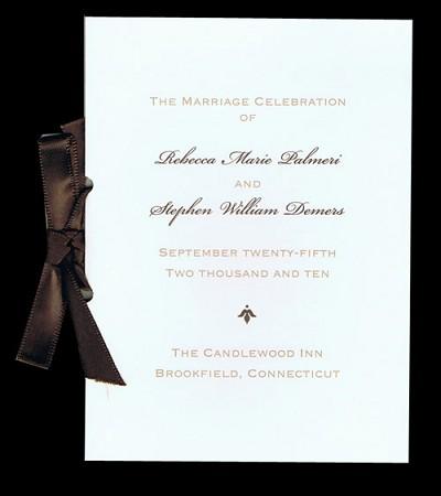 william arthur wedding programs tall folder