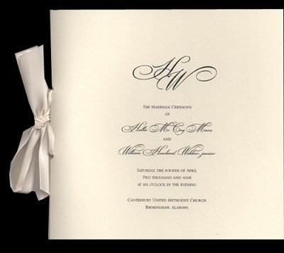 William Arthur Wedding Programs Tall Folder